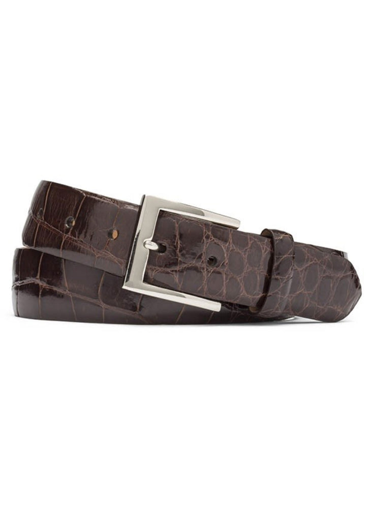 W. Kleinberg Glazed Alligator Belt | Chocolate - Jordan Lash Charleston