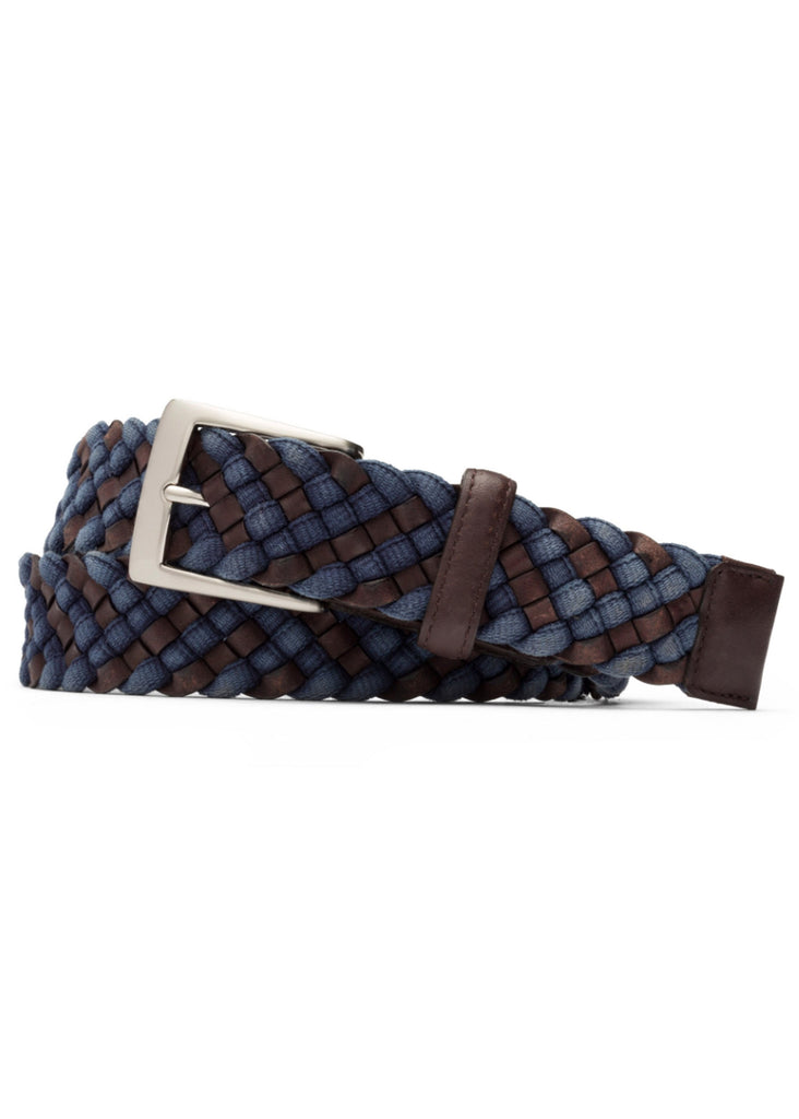 W. Kleinberg Leather Cloth Braided Belt | Blue - Jordan Lash Charleston
