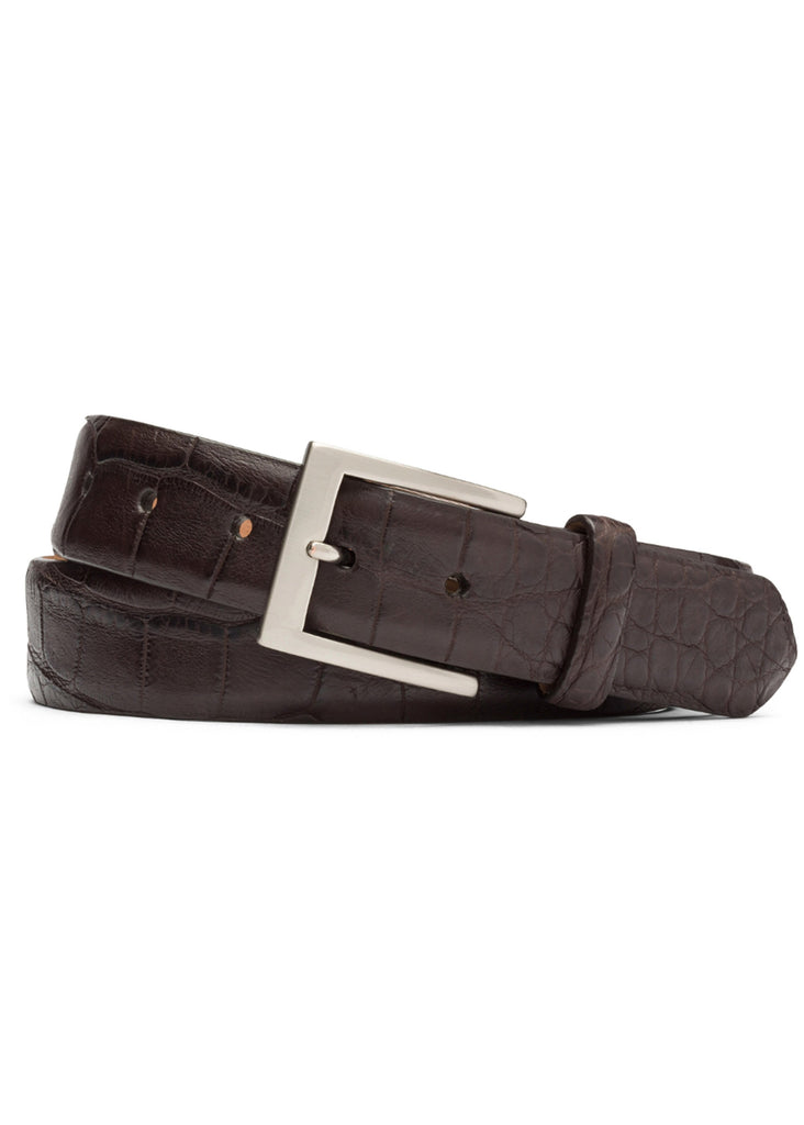 W. Kleinberg Matte Alligator Belt | Chocolate - Jordan Lash Charleston