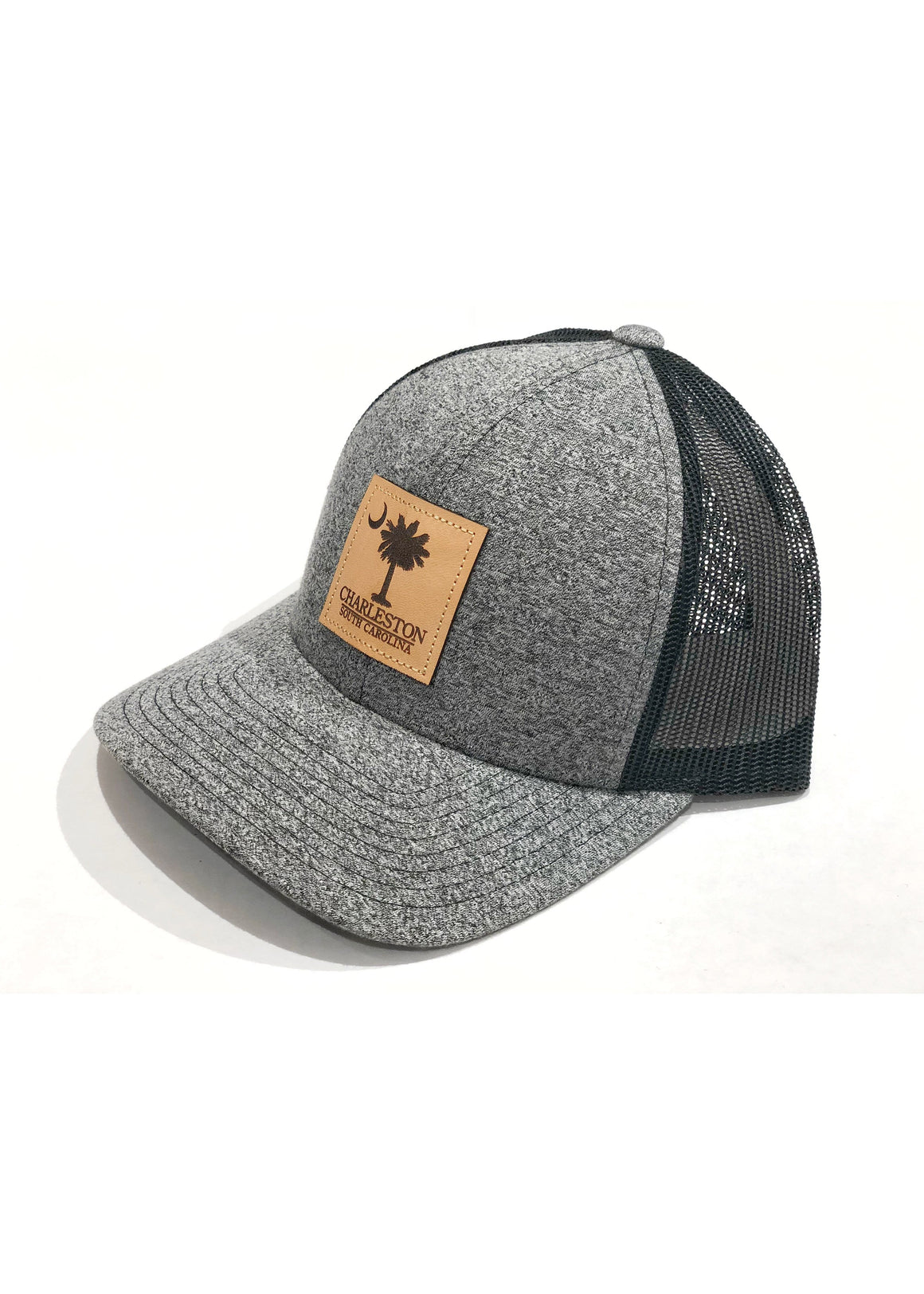 Trucker Hat with Palmetto and Crescent Moon Leather Patch | Black Heather / Black