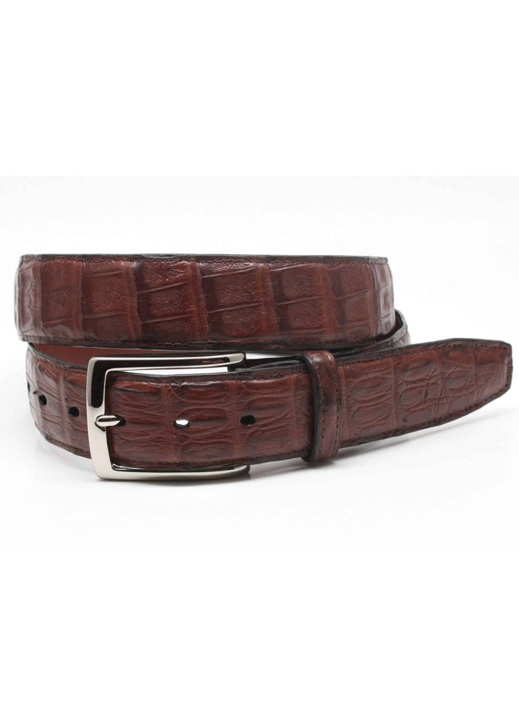 Torino South American Caiman Crocodile Belt | Cognac - Jordan Lash Charleston