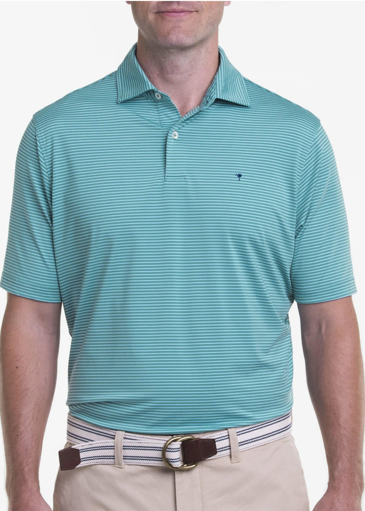 Fairway & Greene Men's Owens Stripe Tech Polo w/ Palmetto and USA Embroidery | Fir and Bluff - Jordan Lash Charleston