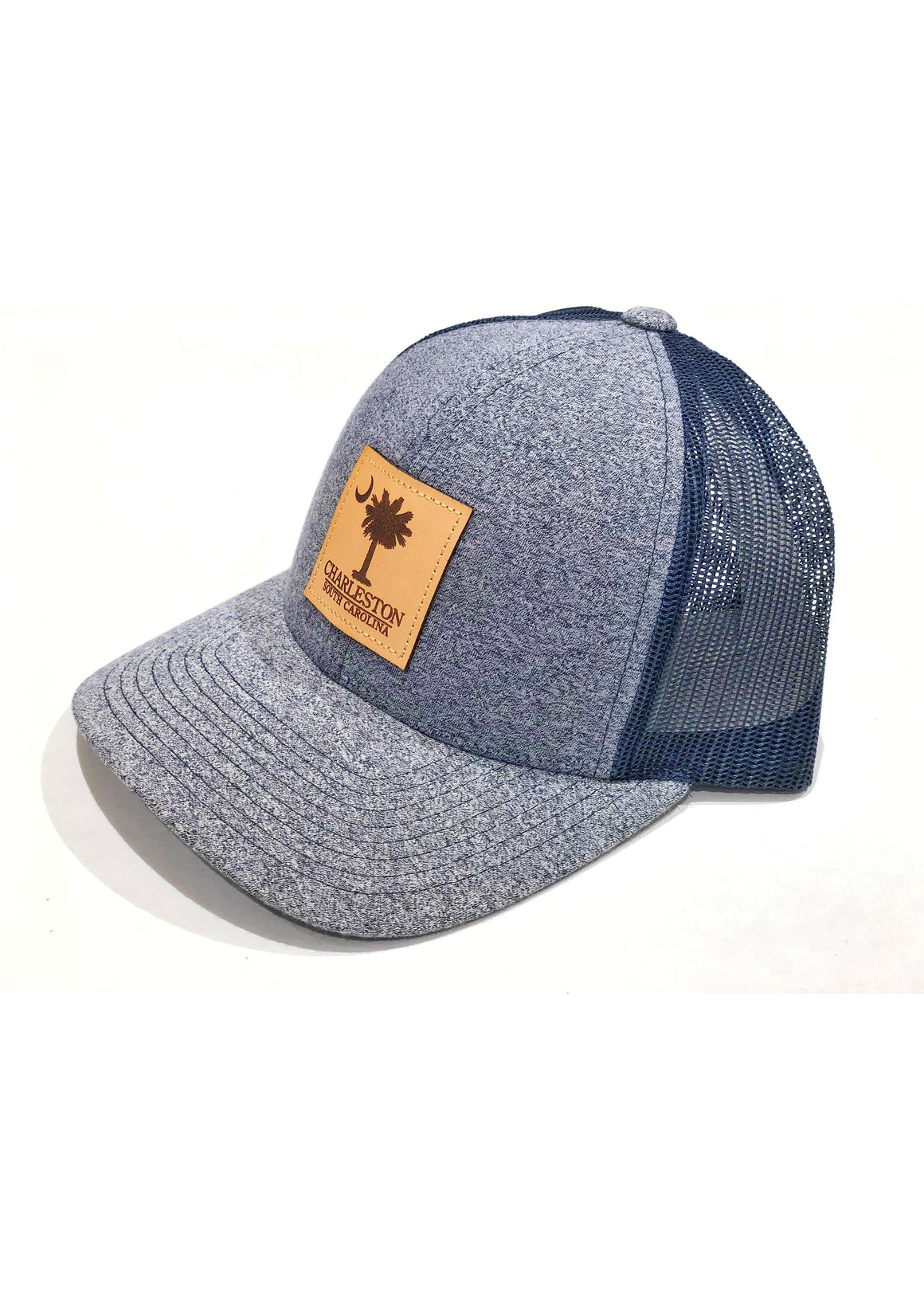 Trucker Hat with Palmetto and Crescent Moon Leather Patch | Navy Heather / Navy