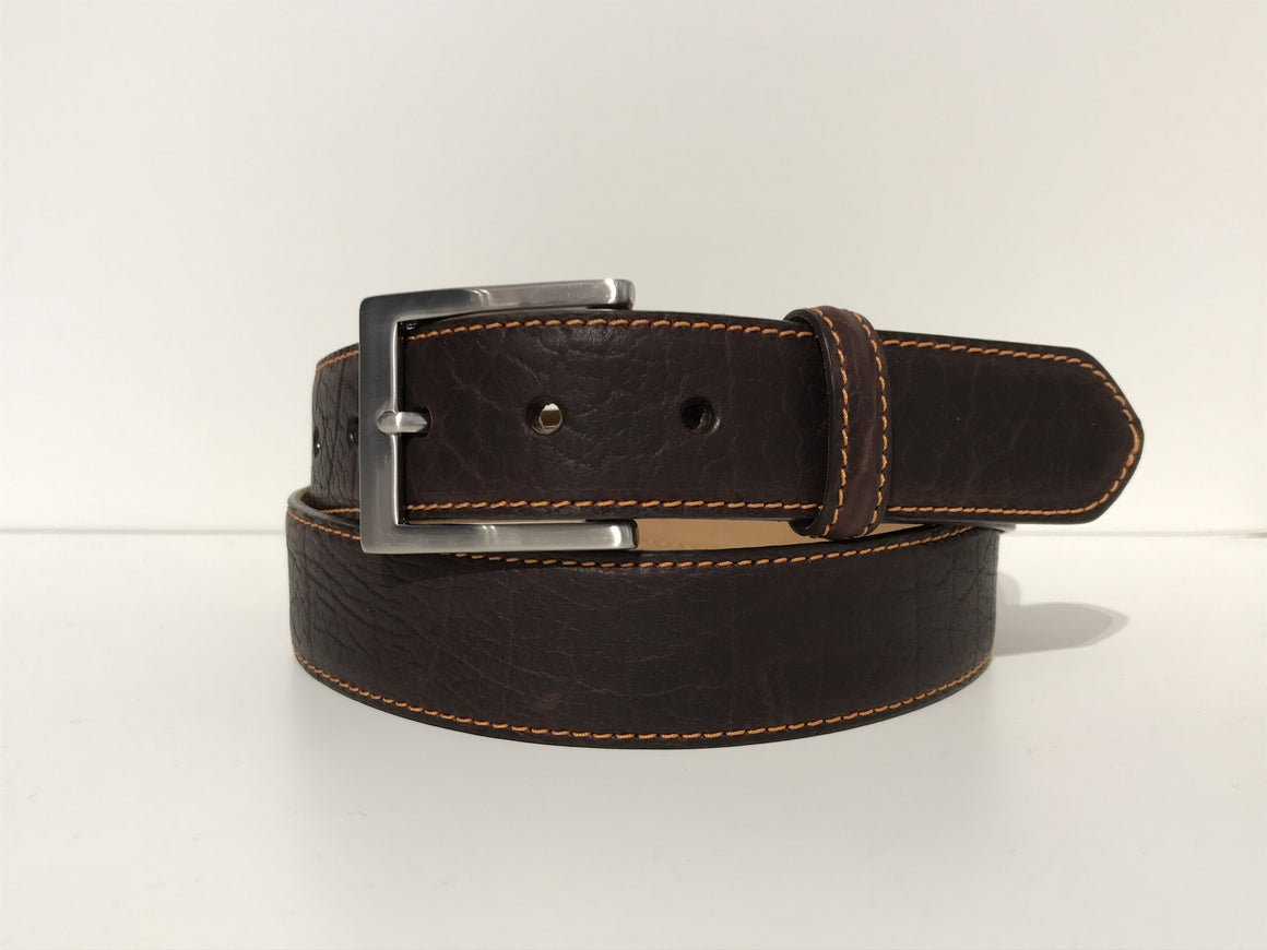 W. Kleinberg Bison Leather Belt | Chocolate Brown with Orange Stitching