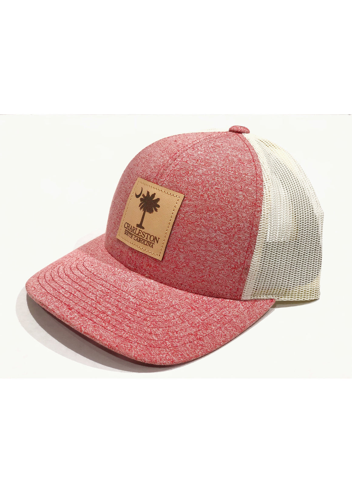 Trucker Hat with Palmetto and Crescent Moon Leather Patch | Red Heather / Birch