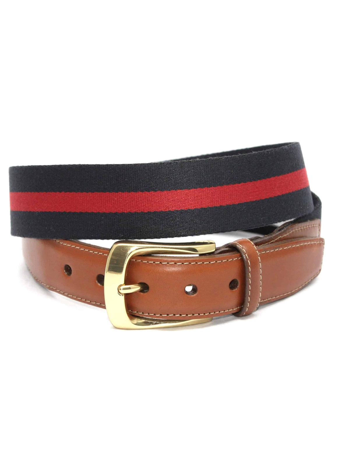 Torino European Ribbed Surcingle Belt | Navy Blue with Red
