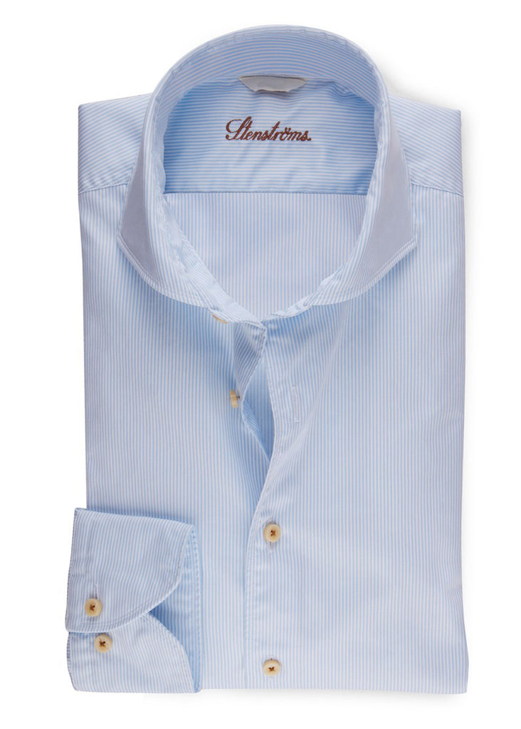 Stenstroms Light Blue Pinstriped Fitted Body Casual Shirt - Jordan Lash Charleston
