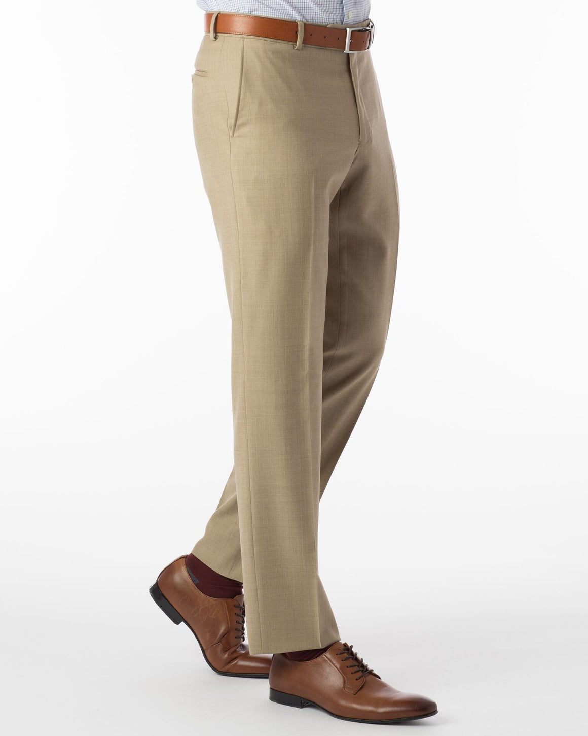Ballin Super 110's Comfort-Eze Sharkskin Soho Dress Pant | Camel