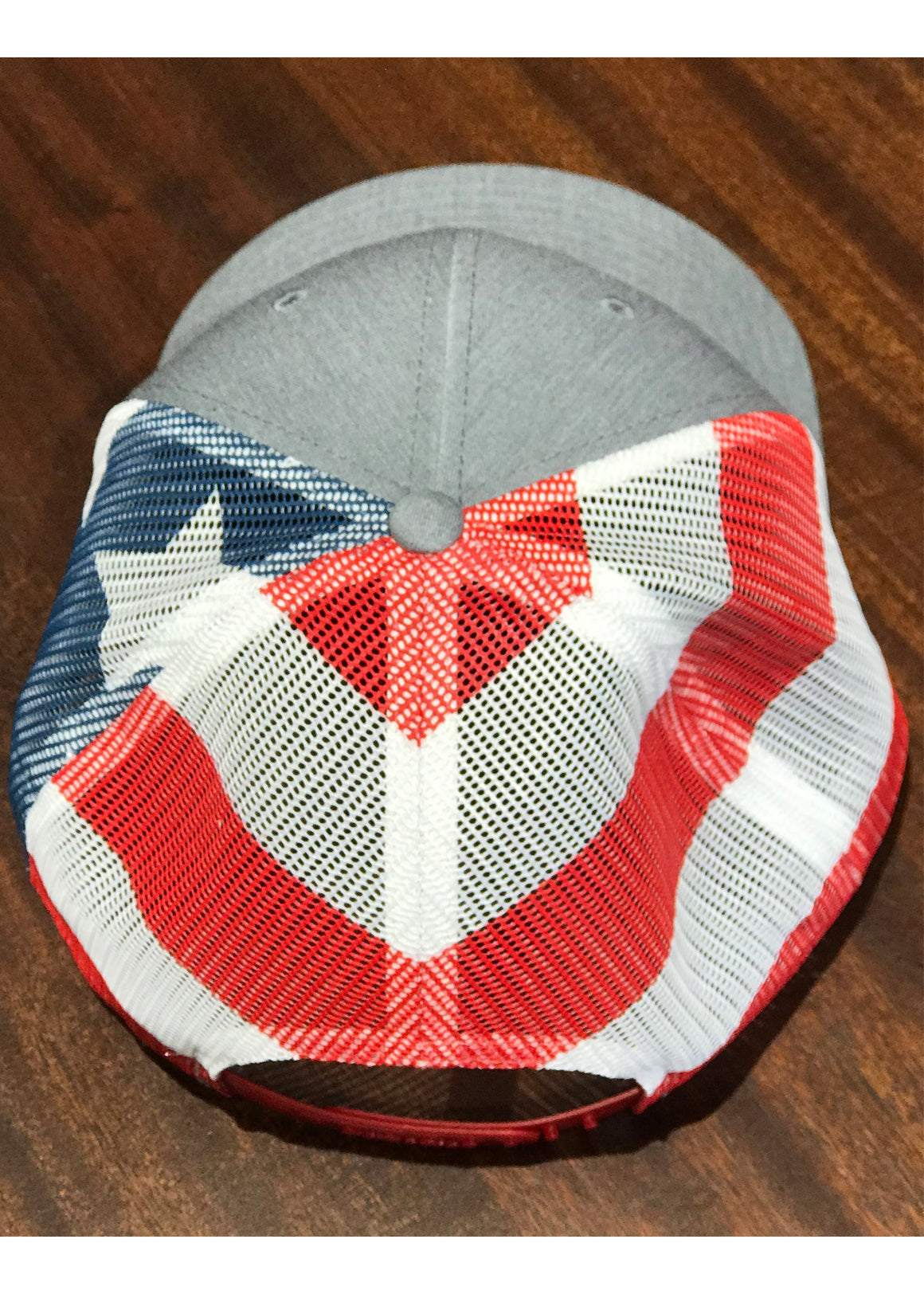 Trucker Hat with Palmetto and Crescent Moon Leather Patch | Grey American Flag