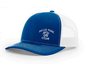 Blue Trucker Hat with White Mesh