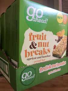 6x Boxes of Go Ahead Fruit & Nut Breaks Apricot and Hazelnut (6x5x20g) Bar