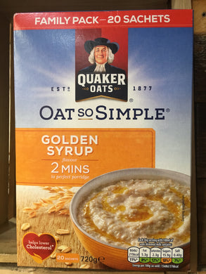 Quaker Oat So Simple Golden Syrup Porridge Sachets 20X36g