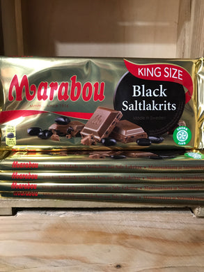 1.1Kg of Marabou King Size Black Saltlakrits Swedish Milk Chocolate (5 Bars of 220g)