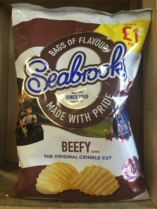2x Seabrook Beefy Flavour Crinkle Cut Crisps Sharing Bag (2x80g)