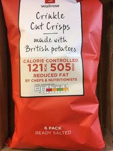 Waitrose Reduced Fat Crinkle Cut Ready Salted Crisps 6 Pack (6x25g)