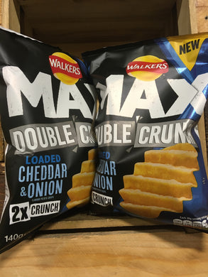 4x Walkers Max Double Crunch Cheddar Onion (4x140g)