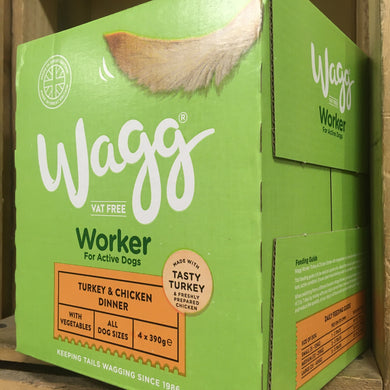 4x Wagg Turkey & Chicken Working Wet Dog Food Trays (1 Box of 4x390g Trays)