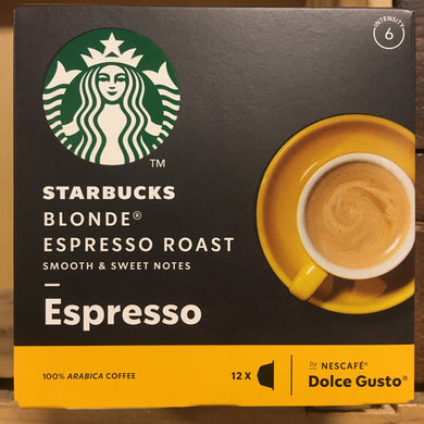 STARBUCKS Dolce Gusto Blonde Espresso Roast Coffee Pods 12 pack