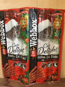 Webbox Festive Turkey & Sausage Cat Treats 6 Sticks 30g