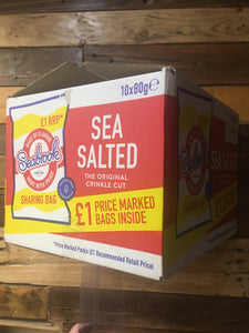 10x Seabrook Sea Salted Crinkle Cut Crisps Sharing Bag Box (10x80g)