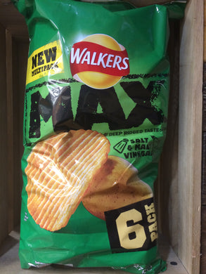 Walkers Max Salt & Vinegar Crisps 6 x 27g