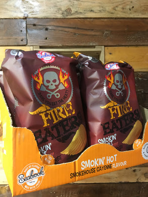 8x Packets of Seabrook Fire Eaters Smokin' Hot Cayenne Crisps Sharing Bags (8x150g)