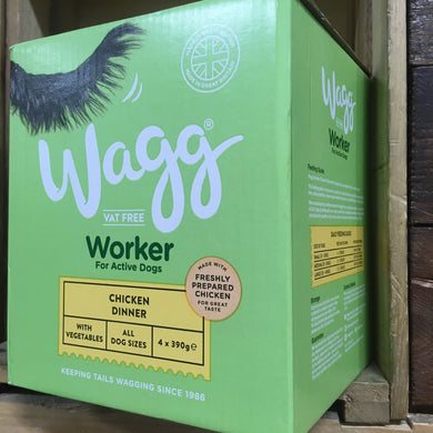 4x Wagg Chicken Working Wet Dog Food Trays (Pack of 4x390g Trays)