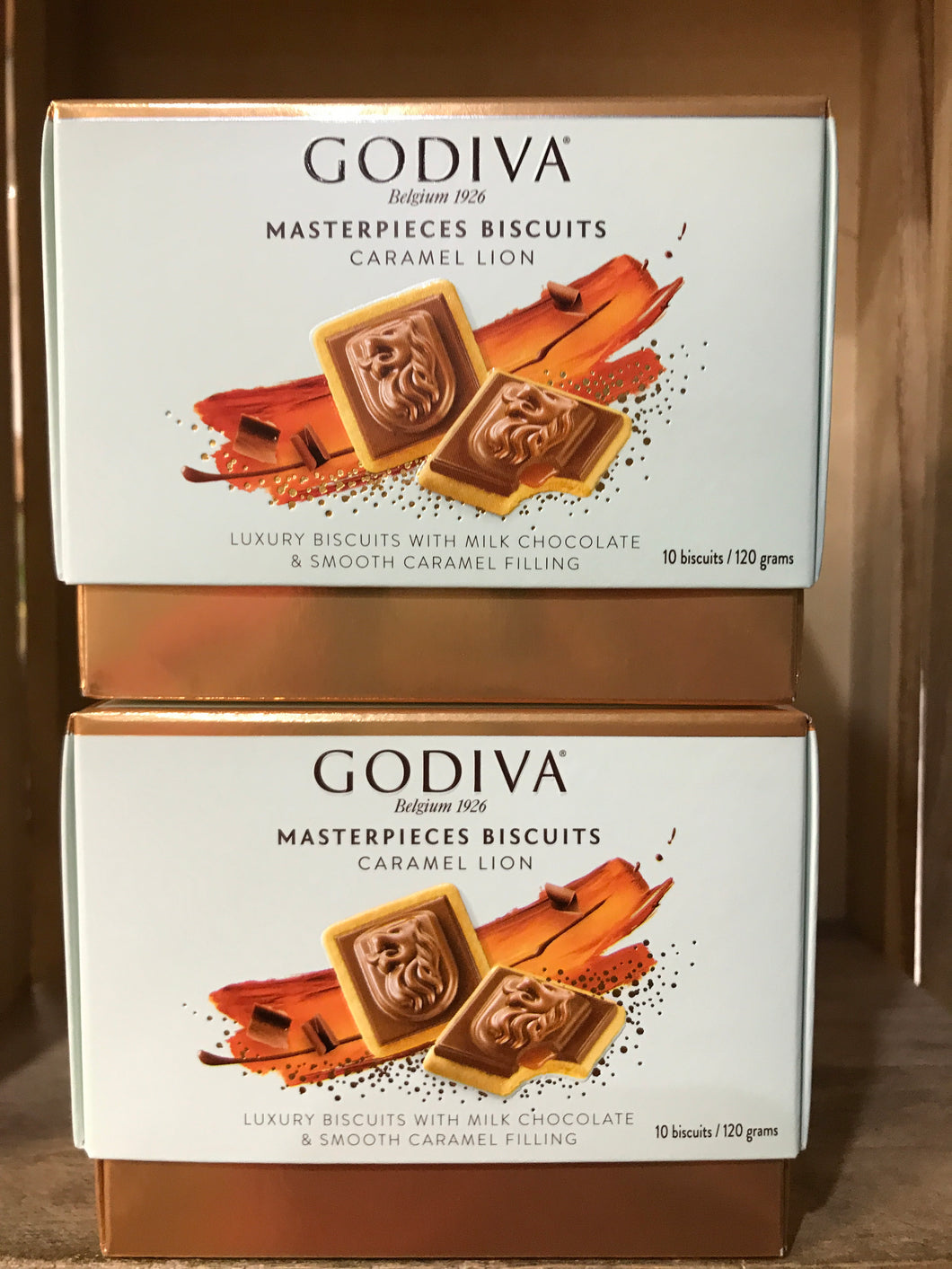 20x Godiva Masterpiece Biscuits Caramel Lion (2 Box's of 10 Biscuits)