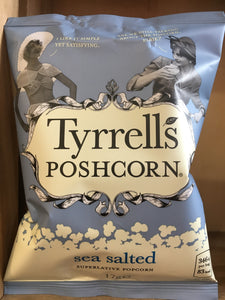 10x Tyrrells Poshcorn Sea Salted Superlative Popcorn Packets (10x17g)