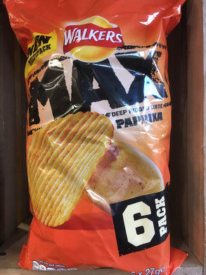 Walkers Max Paprika Crisps 6 Pack 6x 27g