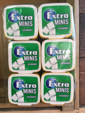 6x Tubs of Wrigley's Extra Minis Spearmint Chewing Gum x100 Pieces
