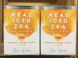30x Lipton Real Iced Tea Green Tea, Mango & Vanilla Tea Bags (2 Packs of 15xBags)