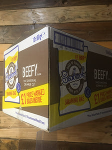 10x Seabrook Beefy Flavour Crinkle Cut Crisps Sharing Bag Box (10x80g)