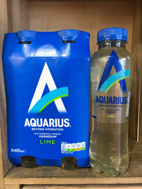 4x Aquarius Lime Mineral Water 400ml