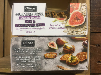 2x Olina's Bakehouse Seeded Toasts Gluten Free Sunflower Seed and Fig (2x100g)