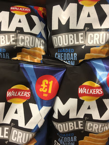 4x Walkers Max Double Crunch Loaded Cheddar & Onion Crisps (4x65g)
