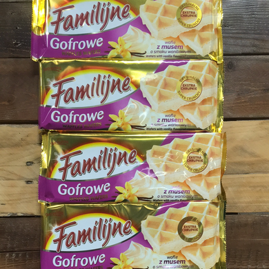 4x Familijne Waffles Wafers with Vanilla Flavoured Cream (4x130g)