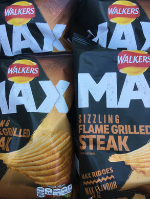 12x Walkers Max Sizzling Flame Grilled Steak Ridge Crisps (12x42.5g)
