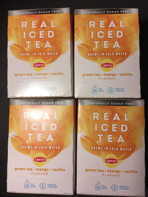 75x Lipton Real Iced Tea Green Tea, Mango & Vanilla Tea Bags (5 Packs of 15xBags)