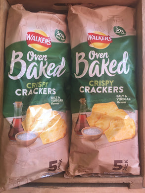 10x Packs of Walkers Baked Salt & Vinegar Crisps (2x 5 Packs 5X25g)