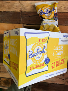 10x Seabrook Cheese & Onion Flavour Crinkle Cut Crisps Sharing Bag Box (10x80g)