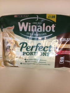 Winalot Perfect Portions Pouch Dog Food 2x Chicken & 2x Beef 400g