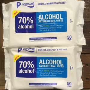 100x Purewell 70% ALCOHOL Antibacterial Wipes (2 Packs of 50)