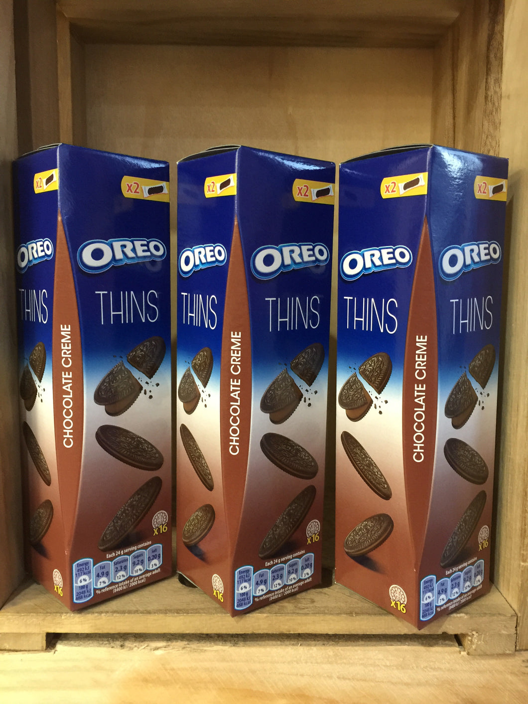 3x Oreo Thins Chocolate Creme Biscuits x16 96g