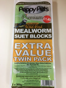 Peppy Pets #1 Mealworm Suet Blocks Value Twin Pack 2x 300g