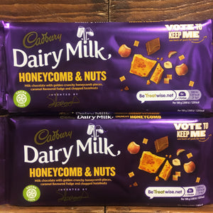 3x Cadbury Dairy Milk Honeycomb & Nut Bars (3x105g)