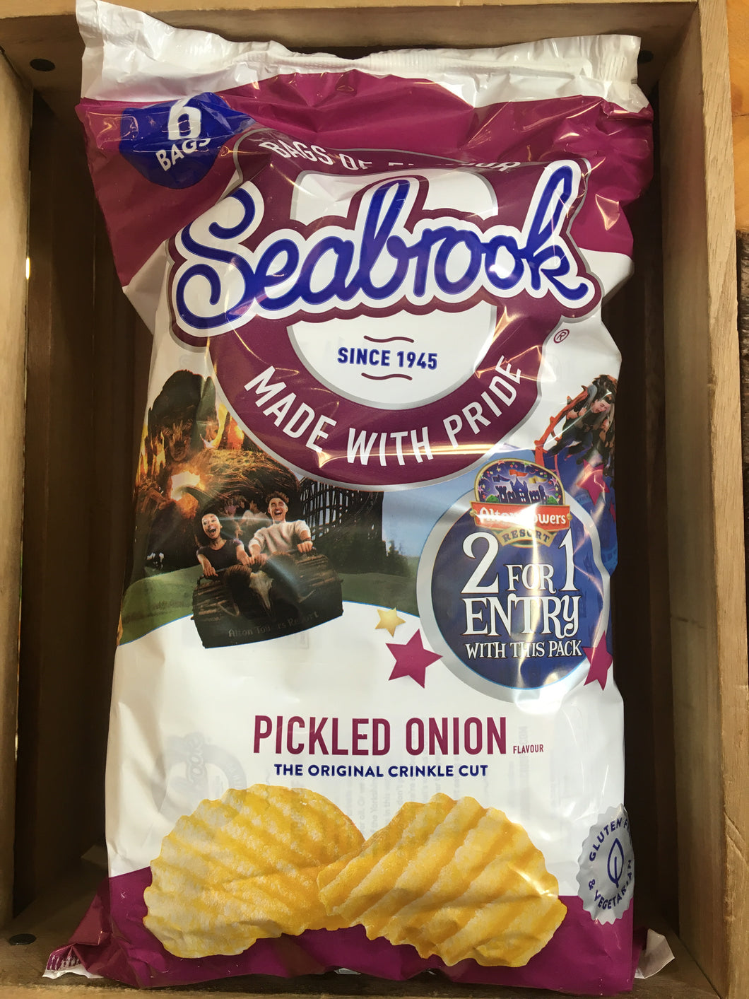 Seabrook Crinkle Cut Pickled Onion Crisps 6 Pack (6x25g)