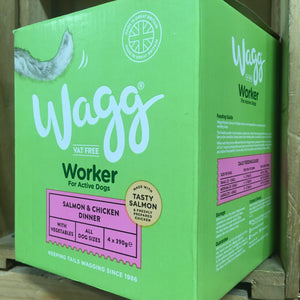 4x Wagg Working Wet Dog Food Salmon & Chicken Trays (4 Pack of 390g Trays)