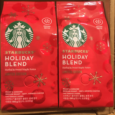 2x Starbucks Holiday Blend Medium Roast Ground Coffee (2x190g)