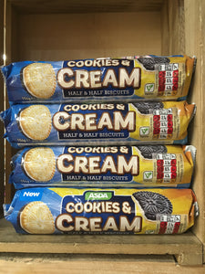 4x Packets of ASDA Cookies & Cream Biscuits (4x154g)